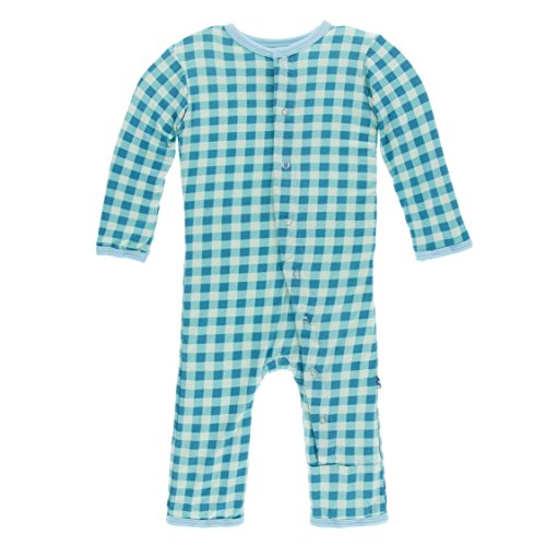 Gingham Shortall Boys (Kickee Pants Little Boys Print Coverall With Snaps - Pistachio Gingham, 0-3 Months)