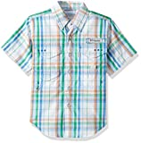 Columbia Youth Boys Super Bonehead Short Sleeve Shirt, Harbor Blue Plaid, Small