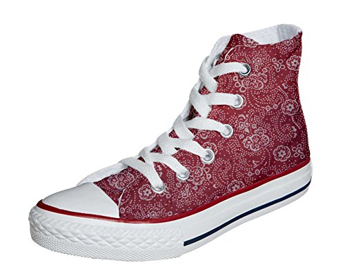 Converse All Star Hi chaussures coutume mixte adulte (produit artisanal) Red Paisley