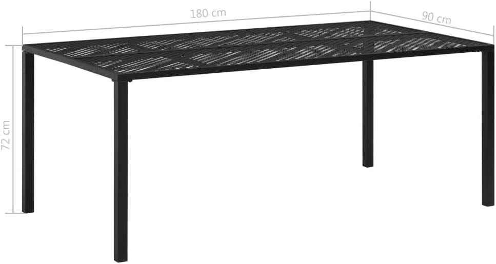 L x l x H yorten Table /à d/îner dext/érieur Acier Table de Jardin Maille Intemp/éries 180 x 90 x 72 cm Noir