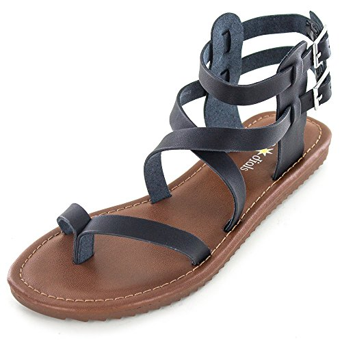 SEVEN DIALS 'SYNC' Women's Sandals, Black Smooth - 6.5 M