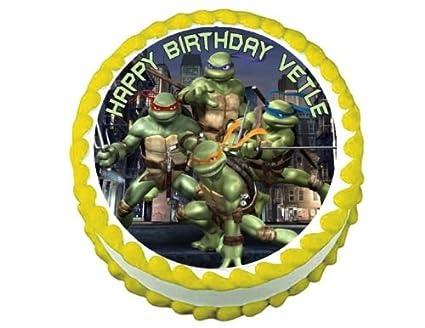 TMNT Teenage Mutant Ninja Turtles round edible frosting cake topper decoration