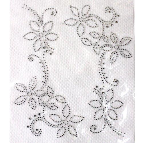 (Rhinestone Transfer Hot Fix T-shirt Clothing Crafts Cushion Crystal Flowers Line Design 1 Sheets 8.4* 9.4 Inch)