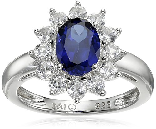 Sterling Silver Created Blue Sapphire and Created White Sapphire Oval Ring, Size (Oval Sapphire Twist)