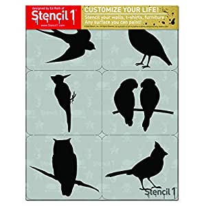 Stencil1 S1_6P-10 Fany Birds Silhouettes Set (6 Pack), White