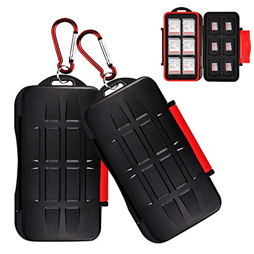 2 Pack Kiorafoto 24 Slots Memory Card Case Holder for 12 SD SDHC SDXC Cards + 12 TF MSD Micro SD Cards Professional Water-Resistant Anti-Shock Storage Protector Organizer, with Carabiner