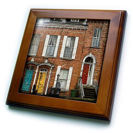 3dRose ft_44125_1 an Awesome Building Showing The Colorful Dublin Doors in Ireland Textured and Done in Two Finishes-Framed Tile, 8 by 8-Inch (Tiles Ceramic Dublin)