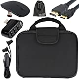 EEEKit 5in1 Starter Kit for RCA Viking Pro 10.1, Carrying Briefcase Sleeve Bag, 3 Port USB Hub, 2.4G Wireless Mouse, Earphone and Mini HDMI Cable