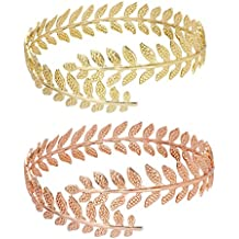 MANZHEN Fashion Gold Tone Swirl Leaf Upper Arm Bracelet Armlet Cuff Bangle Armband Adjustable