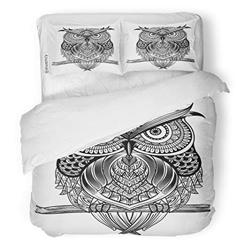 Semtomn Decor Duvet Cover Set Twin Size Owl Sitting on Branch Black and White Zentangle Ethnic 3 Piece Brushed Microfiber Fabric Print Bedding Set Cover]()