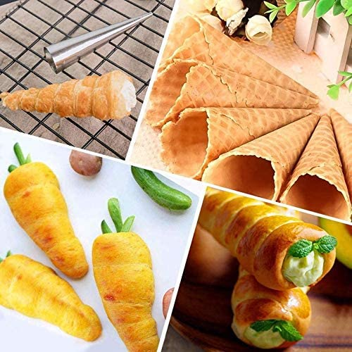 UgyDuky 24 PCS Cream Horn Cones Molds,Conical Tube Cone Roll Moulds for Dessert Spiral Bread Baking,Croissant Ice-Cream Cone