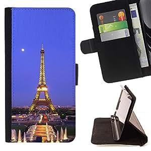 Momo Phone Case / Flip Funda de Cuero Case Cover - Arquitectura Torre Eiffel Luna Noche - Samsung Galaxy S6 Active G890A