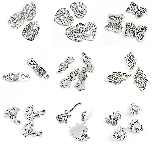 29 PCS Jewelry Making Charms Chinese Zodiac Ox Cow Anti War Signs Electric Guitar Ginkgo Biloba Hollow Leaf