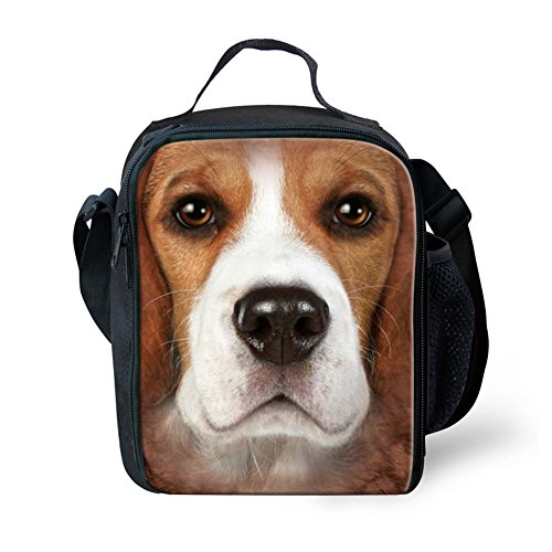 FANCOSAN Beagles Face Pattern Insulated Lunch Bag Cool Picnic School Lunchbox Food Containers Cooler Bags with Adujustable Shoulder - Beagle Face