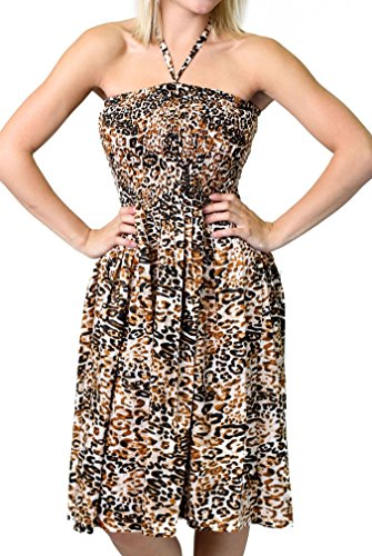 One-size-fits-most Tube Dress/Coverup with Animal Print - Leopard (Dress Print Halter Animal)