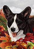 Corgi Cardigan Black Brindle – Tamara Burnett Fall Leaves Large Flags