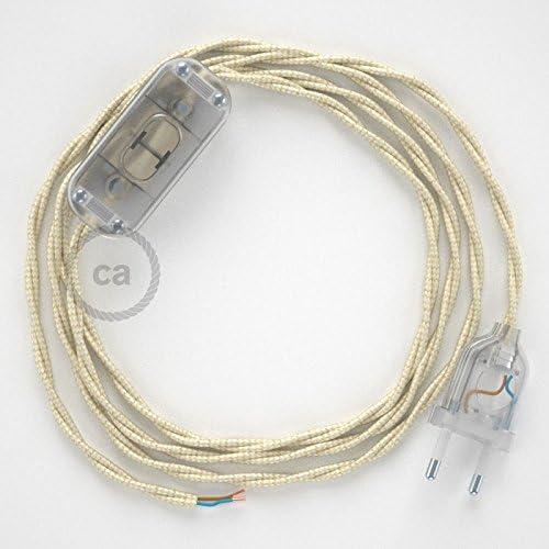 Cable TM00 Efecto Seda Marfil 1,8m creative cables Cableado para l/ámpara Elige tu el Color de la Clavija y del Interruptor! Blanco