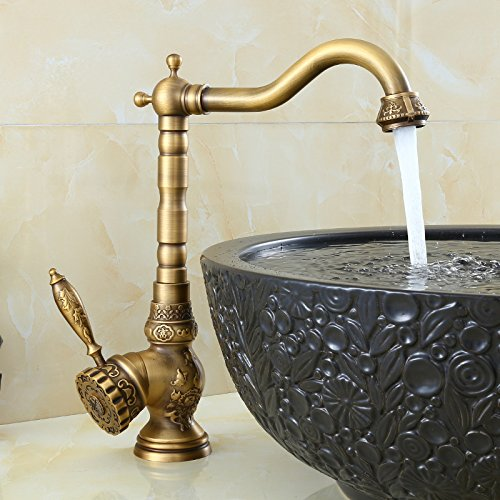 Sprinkle Antique Brass Finish Bathroom Sink Faucet Bamboo Shape Design Single Handle Two Holes Bamboo Single Handle Tub