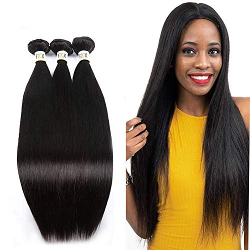 FDX 9a Brazilian Human Hair Bundles Straight Hair,Unprocessed Brazilian Virgin Human Hair Bundles 3 Bundles Straight Hair Natural Color Can be Dyed&Straightened Bleached Knots (12 14 16inch).