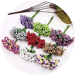 vibe-pleasure 12Pcs/lot Handcraft Artificial Flowers Stamen Sugar Wedding Party Decoration DIY Wreath Gift Box Scrapbooking Fake Flowers 96