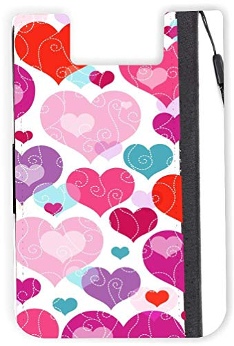TysoOLDPhoneC Pink Blue Hearts Phone Card Holder Adhesive Card Sleeve Card Pouch, iPhone Card on The Back of Phone and case of LG,Piexl,HTC,BLU,Sony,2 ()