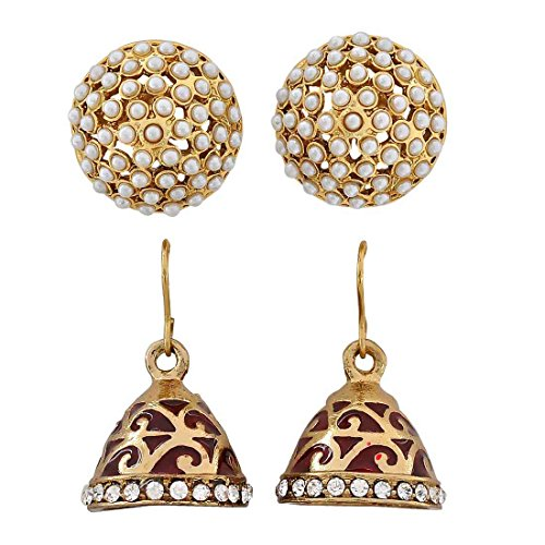 Maayra Studs Jhumki Earrings Maroon White Combo Wedding Festival Jewellery by Maayra