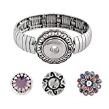 Snap Charm Metal Stretch Bracelet Includes 3 Standard Snaps Shown Fits Ginger Snaps