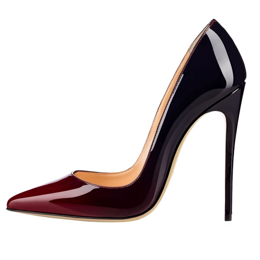 EKS - Zapatos de Tacón Mujer 42 EU|Wein&schwarz-12cm