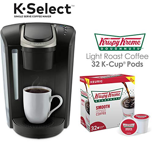 Keurig K-Select Single Serve K-Cup Pod Coffee Maker, Matte Black with 32 Krispy Kreme Light Roast K-Cup Coffee Pods