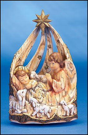 Musical Box Christmas Angel with Baby Jesus in a Rustic Barkwood Resin Manger 8