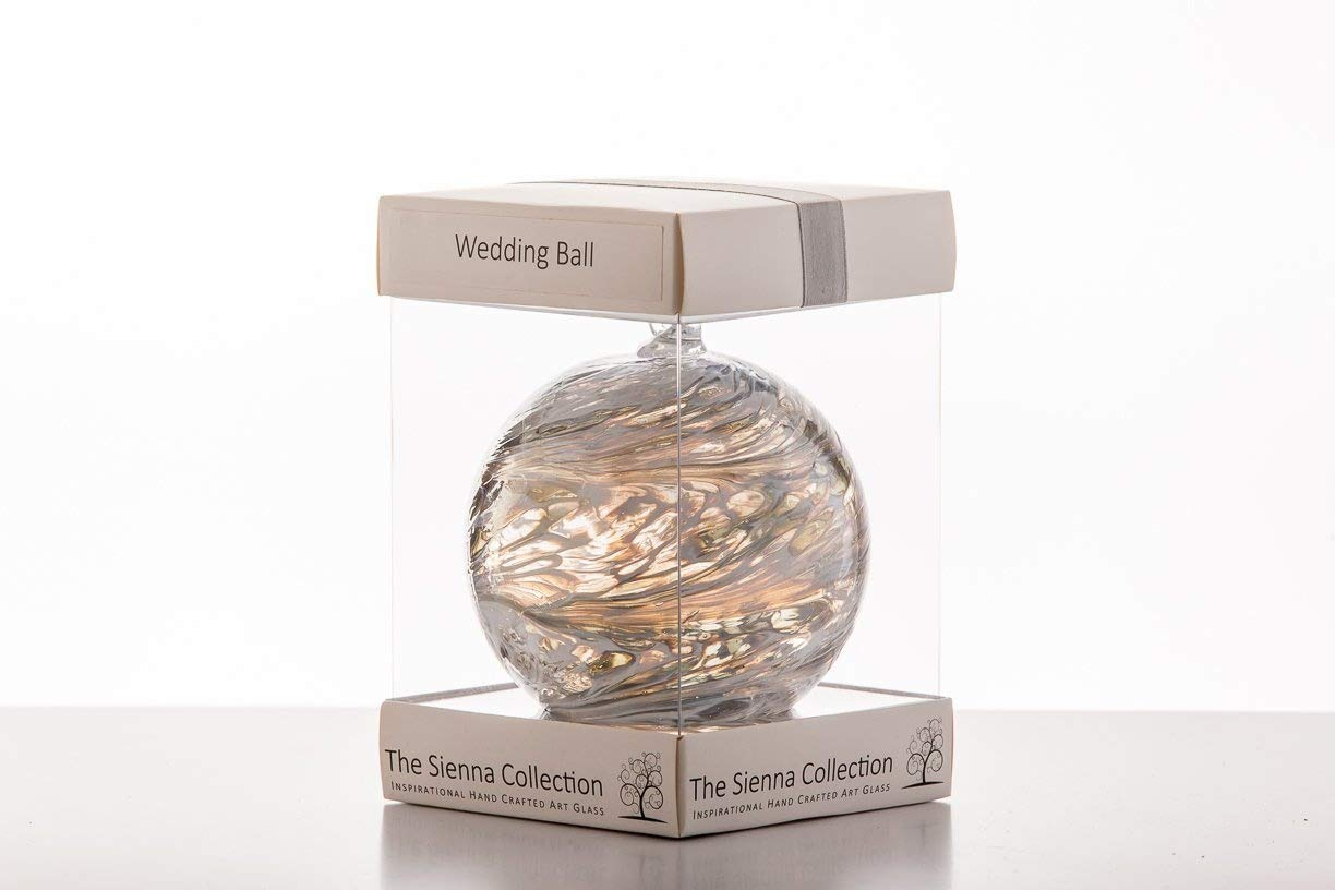 Wedding Gift Friendship Ball, 10cm, silver, gift boxed with ribbon and gift tag Sienna Glass
