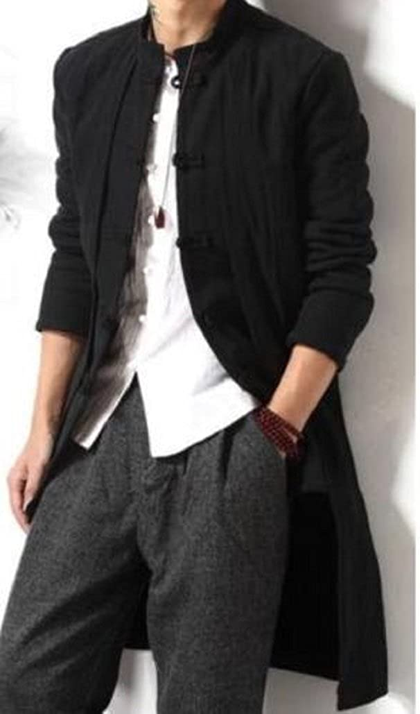 Gothic_Master Mens Linen Kongfu Mid Long Trench Coat