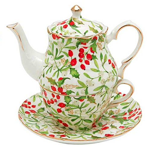 Holly Berry Design Christmas Tea for One, Teapot with Lid, Cup and - Holly Berry Designs