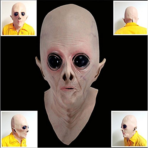 [2015 - Scary UFO Alien Head Latex Mask Halloween Costumes Mask Adult Full Face Party Masquerade Realistic party horror] (Latex Alien Mask)