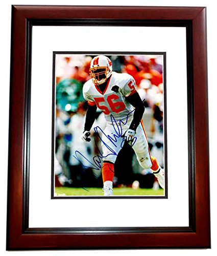 (Hardy Nickerson Signed - Autographed Tampa Bay Buccaneers - Tampa Bay Bucs 8x10 inch Photo MAHOGANY CUSTOM FRAME - Guaranteed to pass PSA or JSA)