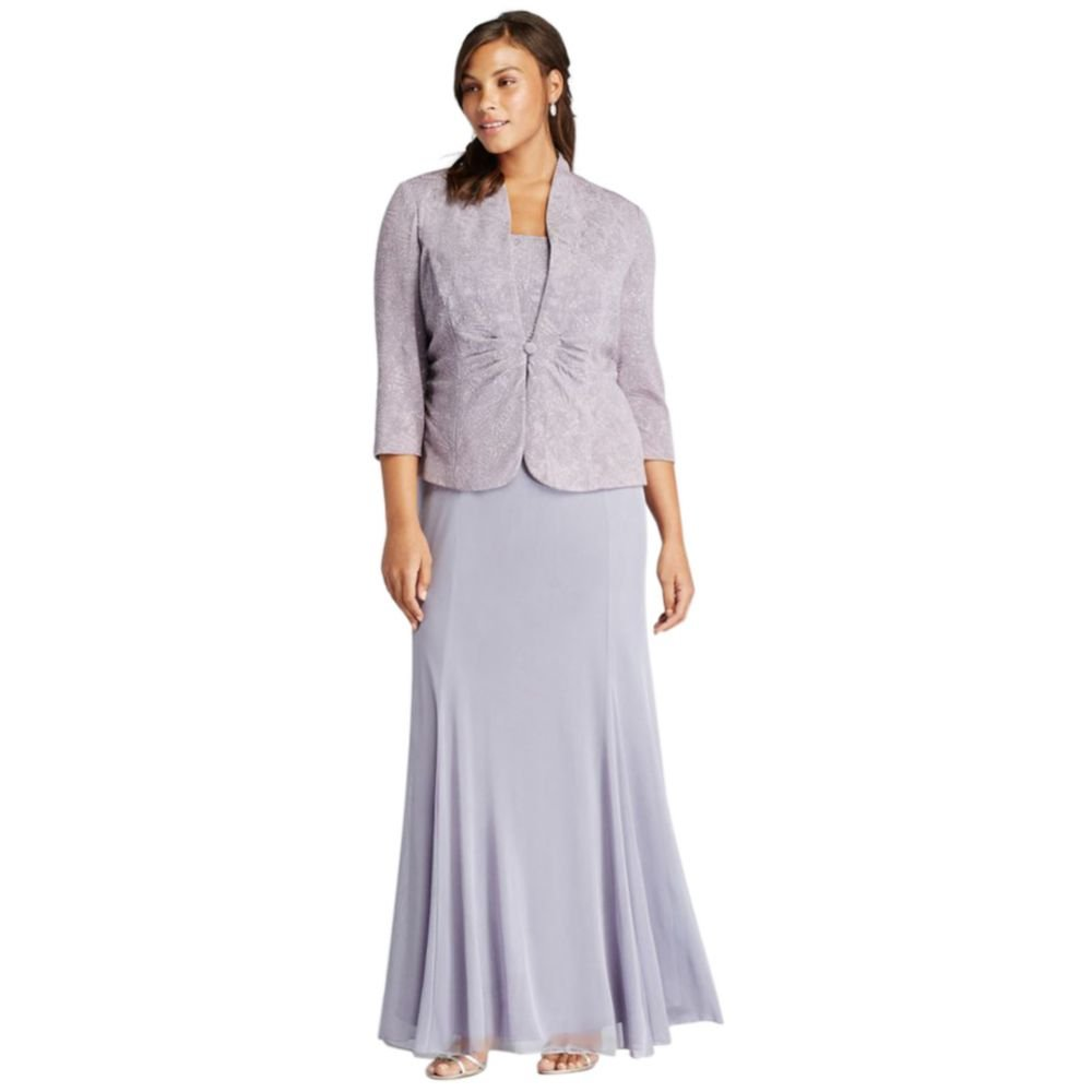 Plus Size 3/4 Sleeve Long Jacquard Jacket Mother of Bride/Groom Dress Style... by David's Bridal