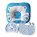 Flat Head Baby Pillow Prevention - VERSATILE & SAFE I 2 BONUS Bibs & 1 BONUS Beanie I Head Shaping & Plagiocephaly I ADJUSTABLE size
