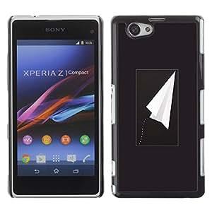 Be Good Phone Accessory // Dura Cáscara cubierta Protectora Caso Carcasa Funda de Protección para Sony Xperia Z1 Compact D5503 // Plane Black Freedom Minimalist