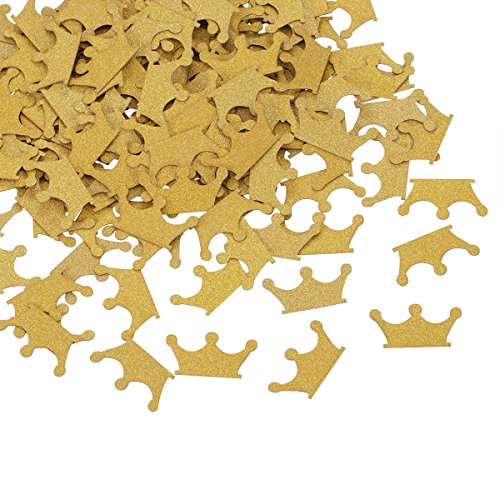 Topoox Gold Glitter Crown Confetti Table Decorations for Prince Baby Shower 1st Birthday Party Supplies, Pack of 200]()