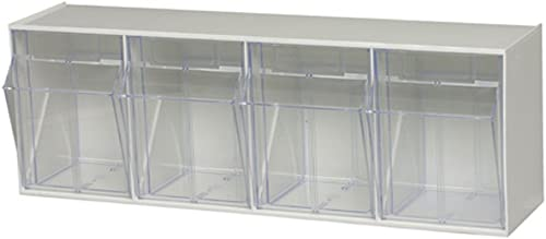 Quantum Storage Systems, White Quantum QTB304 Clear 6-5 8-Inch by 23-5 8-Inch by 8-1 8-Inch Tip Out Bin System