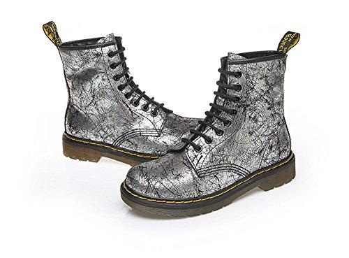 Aisun Damen Modern Martin Stiefel High Top Flach Schnürsenkel Schlupfstiefel Silber-Grau