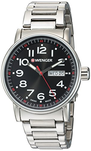 Wenger-Mens-Attitude-DayDate-Swiss-Quartz-Stainless-Steel-Casual-Watch-ColorSilver-Toned-Model-010341104