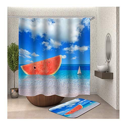 AMDXD Curtain for Bath Tub Watermelon Beach Shower Curtain Colorful Bath Curtains150x180CM with Bath Mat 40x60cm