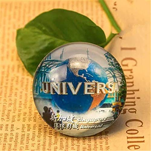 Universal Studios Singapore Refrigerator Fridge Magnet City World Crystal Glass Handmade Tourist Travel Souvenir Collection Gift Strong Word Letter Sticker Kids -