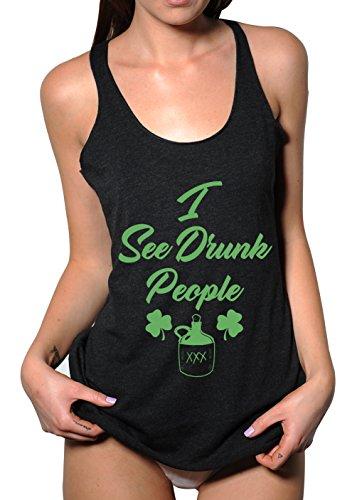 Emdem Apparel I See Drunk People St. Patrick's Day Womens Tank Top Black XL