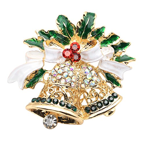 KristLand - Christmas Brooch Pin Alloy with Crystal and Enamel Corsage for Cloth Bag Cute Bell