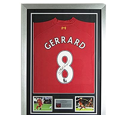 b3cf5f72472 Signed Steven Gerrard 2013-14 Liverpool FC No.8 Shirt - Autographed Soccer  Jerseys at Amazon s Sports Collectibles Store