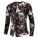 kaifongfu Buttom Shirt,Men Flower Printed Shirt Long Sleeve Blouse (Multicolor A,L)