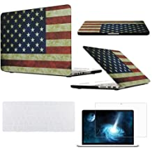 """Easygoby 3in1 Vintage American Flag Matte Rubber Coated Hard Shell Case Cover for 13-inch MacBook Pro 13.3"""" with Retina Display Model A1502 / A1425 (NO CD-ROM Drive) + Transparent Keyboard Cover + Screen Protector- Flag of the US"""