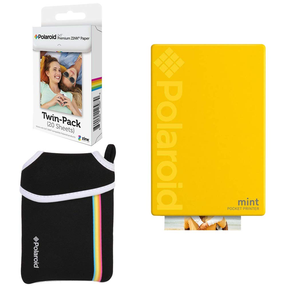 Polaroid Mint Pocket Instant Printer (Yellow) Basic Bundle + Paper (20 Sheets) + Deluxe Pouch by Polaroid
